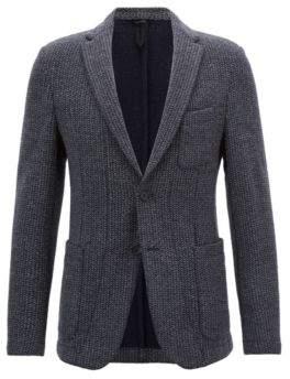 BOSS Hugo Slim-fit blazer in a herringbone wool 36R Open Grey
