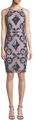 Aidan Mattox Embroidered Sequin Halter Dress
