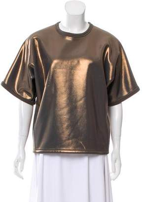 Balenciaga Metallic Crew Neck Top