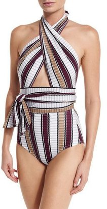 Karla Colletto Palazzo Cross-Halter One-Piece Swimsuit $384 thestylecure.com