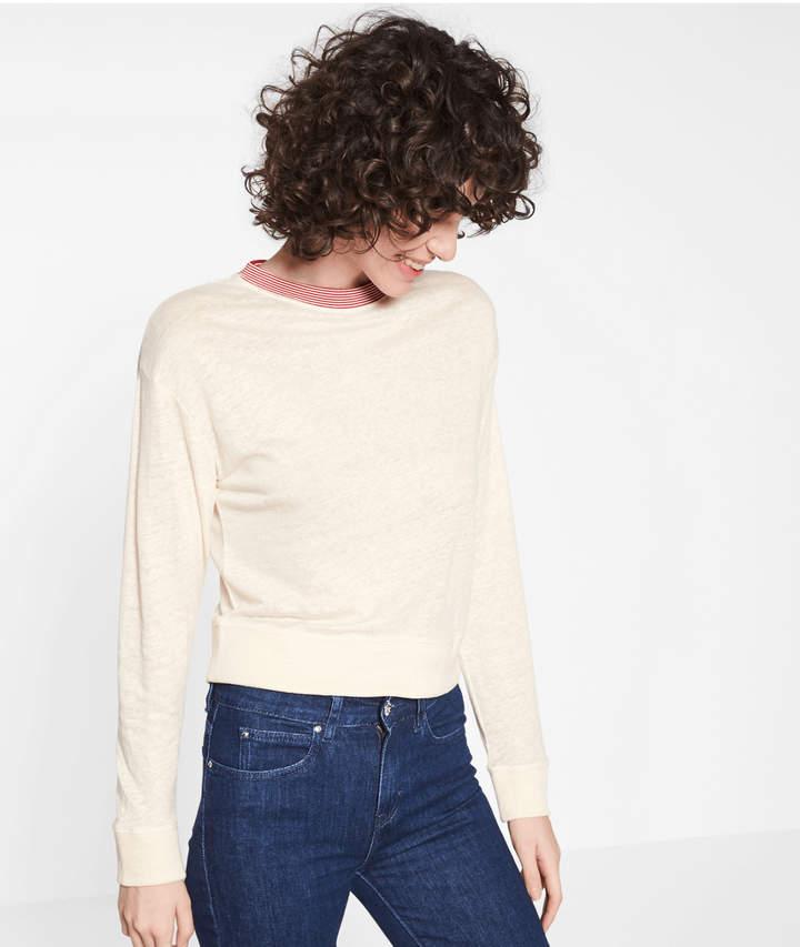 Leichter Pullover mit Feinripp, Weiß, Größe XL
