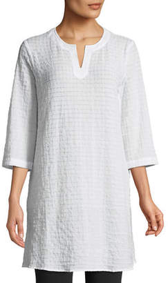 Eileen Fisher Grid-Texture 3/4-Sleeve Organic Cotton Voile Tunic, Petite