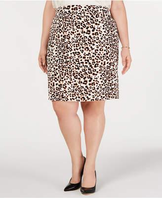Bar III Plus Size Animal-Print Pencil Skirt