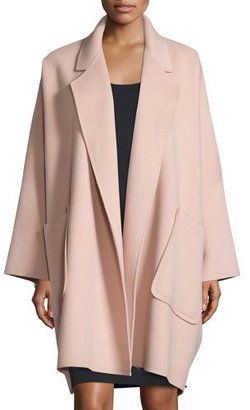 Helmut Lang Oversized Open-Front Wool-Blend Coat, Dusty Pink $1,195 thestylecure.com
