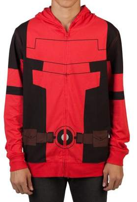 Deadpool Marvel Big Men's Lightweight Cosplay Zipper Hoodie with Full Face Covering Mask, 2XL