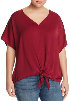 Lucky Brand Plus Satin Tie-Waist Top