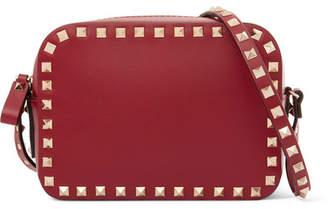 Valentino Garavani The Rockstud Leather Shoulder Bag - Red