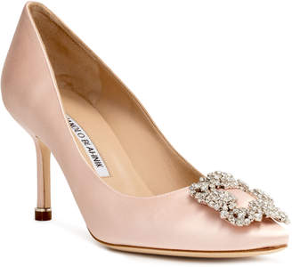Manolo Blahnik Hangisi 70 light blush satin pumps