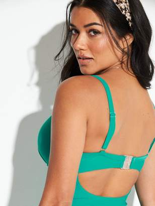 073a45c3ea Very Shapewear Underwired Ruched Front Plunge Tankini Top - Jade Green