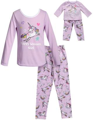 "Dollie & Me Girls 4-14 Happy Unicorn Girl"" Top & Bottoms Pajama Set & Matching Doll Pajamas"