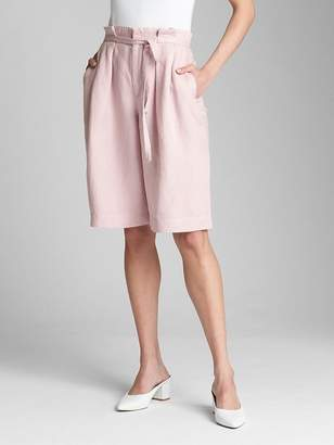 High Rise Tie-Belt Paperbag Culottes