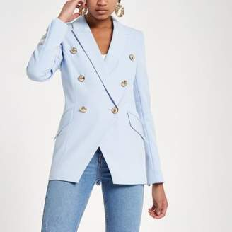 River Island Light blue double breasted tux jacket
