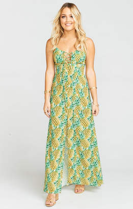Show Me Your Mumu Leyton Lace Up Maxi ~ Pineapple Paradise Crinkle