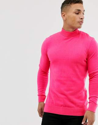 New Look roll neck in neon pink