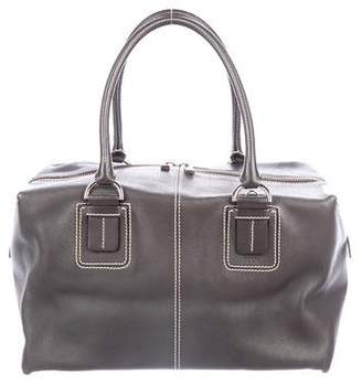 Tod's Contrast-Stitched Leather Satchel