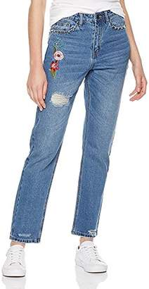 Parker Lily Women's High Waist Flower Embroidered Destroyed Ripped Jeans