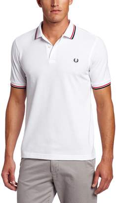 Fred Perry Men's Slim-Fit Twin-Tipped Polo Shirt, White/Bright Red/Navy