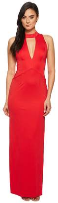 Adrianna Papell Sleeveless Mock Neck with Plunging V-Neck Jersey Long Gown Women's Dress