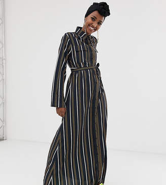 Verona long sleeved woven shirt dress with tie detail in multi stripe