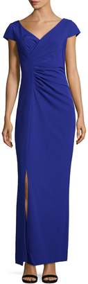 JS Collections Women's V-Neck Crepe Gown