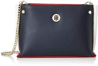 Stitch Leather Crossover, Womens Cross-Body Bag, Blue (Tommy Navy), 8x18x21 cm (B x H T) Tommy Hilfiger