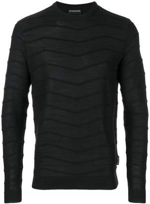 Emporio Armani wavy stitch striped jumper