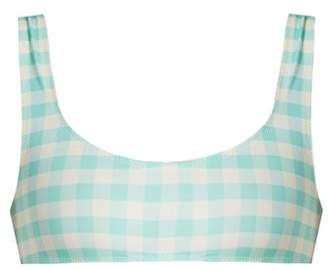 Solid & Striped The Elle Gingham Bikini Top - Womens - Light Blue