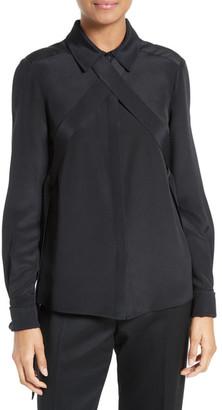 tibi Chica Tie Detail Silk Blouse $450 thestylecure.com