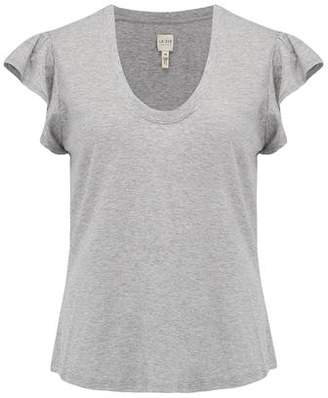 Rebecca Taylor La Vie Washed Textured Jersey Top in Grey