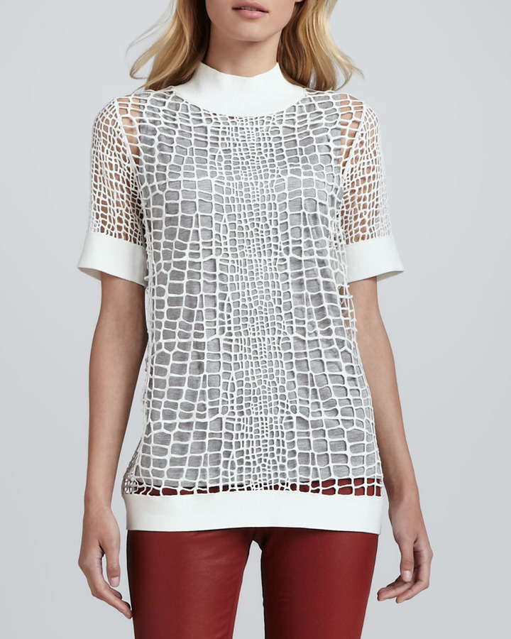 Robert Rodriguez Croc-Patterned Open-Knit Pullover
