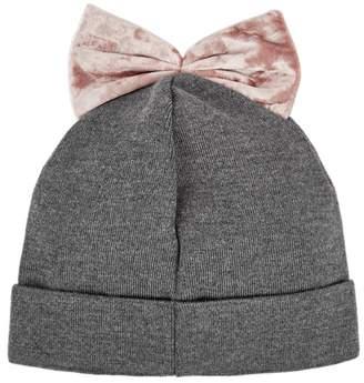 Federica Moretti Grey Bow-embellished Beanie