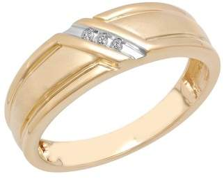 Unbranded Mens 10K Gold Wedding Band Ring with Diamond Accent Slash