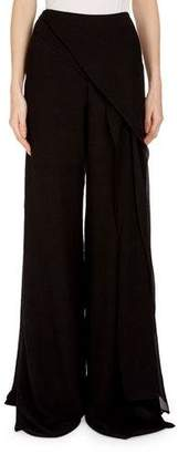 Roland Mouret Farnley Wide-Leg Side-Drape Textured Silk Pants