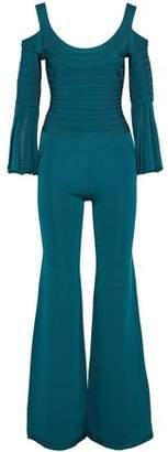 Herve Leger Yuna Cold-Shoulder Bandage And Stretch-Knit Jumpsuit