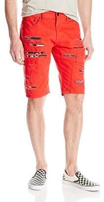 Southpole Men's Twill Shorts with Printed Backing and Patches