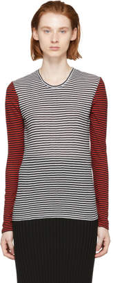 Proenza Schouler Black and White PSWL Mixed Stripe Long Sleeve T-Shirt