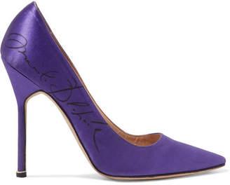 Vetements - + Manolo Blahnik Printed Satin Pumps - Purple $1,725 thestylecure.com