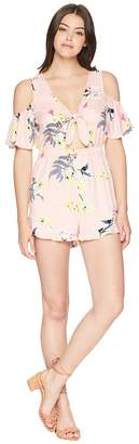 BB Dakota Skylar Golden State Floral Printed Tie Front Romper Women's Jumpsuit & Rompers One Piece
