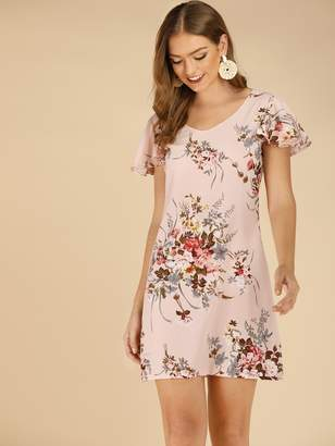 Shein Floral Print Scoop Back Sheath Dress