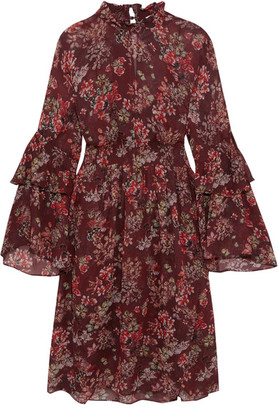 IRO - Smocked Floral-print Georgette Dress - Burgundy $660 thestylecure.com