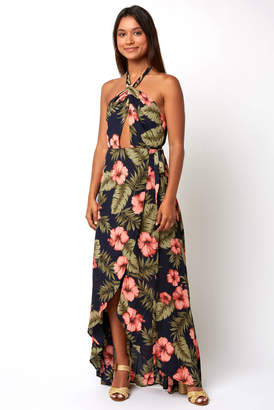 If By Sea If by Sea Hawaiian Print Floral Wrap Dress