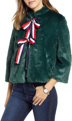 1901 Faux Fur Bow Coat