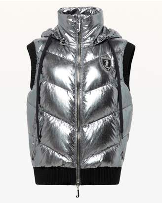Juicy Couture Silver Metallic Hooded Down Puffer Vest