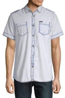 Buffalo David Bitton Epaulette Short-Sleeve Cotton Button-Down Shirt