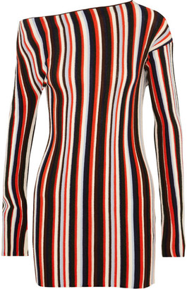 Jacquemus - One-shoulder Striped Wool Mini Dress - Red $525 thestylecure.com