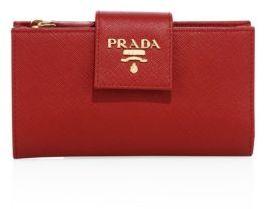 pradaPrada Saffiano Leather Tab Wallet