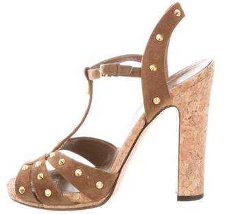 Gucci Suede Studded Sandals