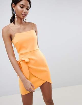 Asos Design DESIGN wrap front bow scuba mini dress