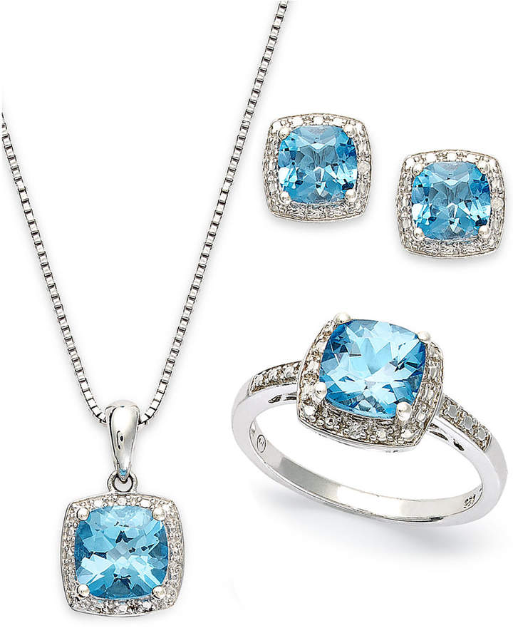 Macy's Sterling Silver Jewelry Set, Blue Topaz (5-7/8 ct. t.w.) and Diamond Accent Necklace, Earrings and Ring Set