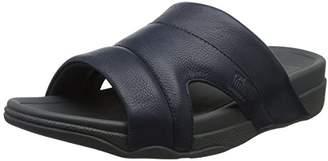 FitFlop Men's Freeway Pool Slide in Leather Open Toe Sandals,45 EU
